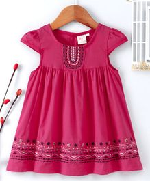 Smile Rabbit Cap Sleeves Embroidered Frock - Pink
