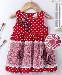 ABQ Sleeveless Frock Butterfly Embroidered - Red