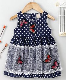 ABQ Sleeveless Frock Butterfly Embroidered - Navy