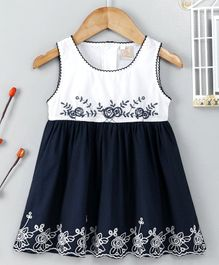 ABQ Sleeveless Floral Embroidered Frock - Navy