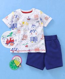 Babyhug Half Sleeves T-Shirt & Shorts Graphic Print - White