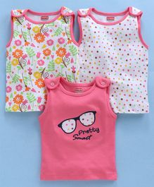 Babyhug  Sleeveless Tee Multi Print Pack of 3 - Pink