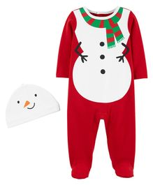 Carter's 2-Piece Snowman Coverall & Hat Set - Red