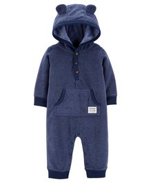 Carter's Bear Hooded Fleece Jumpsuit - Navy