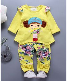 Awabox Doll Patch Full Sleeves Top & Pant Set - Yellow