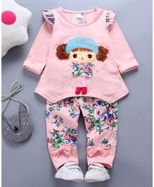 Awabox Doll Patch Full Sleeves Top & Pant Set - Pink