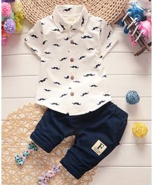 Awabox Moustache Print Short Sleeves Shirt & Bottom Set - White