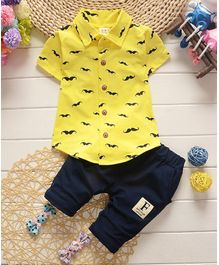 Awabox Moustache Print Short Sleeves Shirt & Bottom Set - Yellow