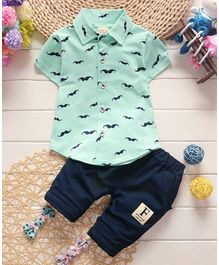 Awabox Moustache Print Short Sleeves Shirt & Bottom Set - Light Green