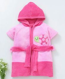 Pink Rabbit Hooded Bath Robe Tortoise Patch - Pink