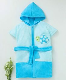 Pink Rabbit Hooded Bath Robe Tortoise Patch - Aqua Blue