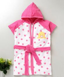 Pink Rabbit Hooded Bath Robe Duck Patch - Pink