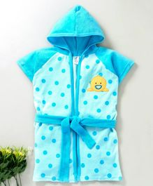 Pink Rabbit Hooded Bath Robe Duck Patch - Blue