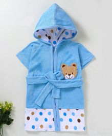 Pink Rabbit Hooded Bath Robe Tiger Patch - Blue