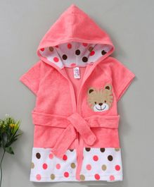 Pink Rabbit Hooded Bath Robe Tiger Patch - Pink