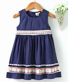 Smile Rabbit Sleeveless Solid Colour Frock - Navy