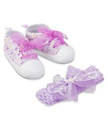 Kittens Shoes Flower Print Booties - Pink