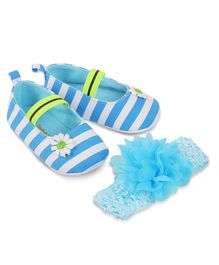 Kittens Shoes Striped Flower Applique Booties With Headband - Blue