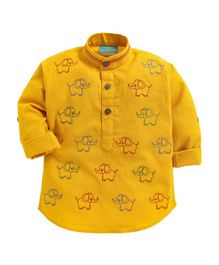 LIL PITAARA Full Sleeves Elephant Embroidered Shirt - Yellow
