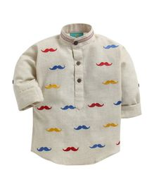 LIL PITAARA Full Sleeves Moustache Embroidered Shirt - Beige