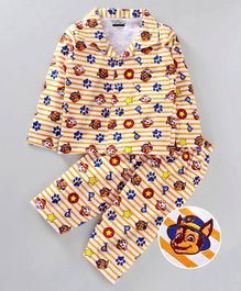 Eteenz Full Sleeves Night Suit Puppy Print - White & Yellow