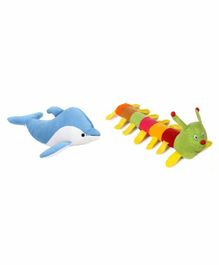 Deals India Caterpillar And Fish Soft Toys Pack of 2 - Height 38 cm
