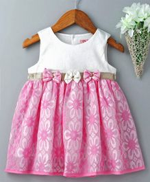 Sunny Baby Sleeveless Frock Floral Detail & Bow Applique - Pink
