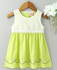 Sunny Baby Sleeveless Frock Floral Embroidery - Lime Green