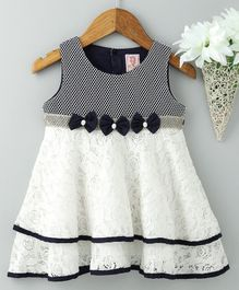 Sunny Baby Sleeveless Frock Bow & Lace Detail - White Navy