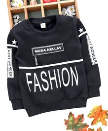 Kuyiwa Full Sleeves Sweatshirt Fashion Print - Black