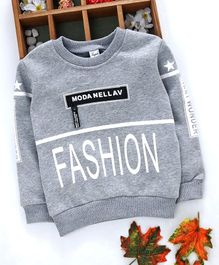 Kuyiwa Full Sleeves Sweatshirt Fashion Print - Grey