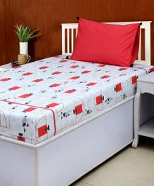 HouseThis Cotton Single Bed Sheet & Pillow Cover Set Springfield Print - White Red