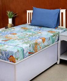 HouseThis Cotton Single Bed Sheet & Pillow Cover Set Great Barrier Reef Print - Blue