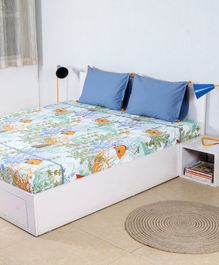 HouseThis Cotton Double Bed Sheet & 2 Pillow Covers Set Great Barrier Reef Print - Blue