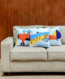 HouseThis Wright Brothers Set Of 3 Cushion Covers - Blue