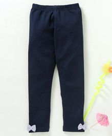 Babyhug  Full Length Stretchable Leggings With Bows - Navy Blue