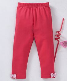 Babyhug  Full Length Stretchable Leggings With Bows - Red