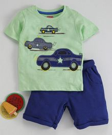 Babyhug Half Sleeves Tee With Shorts With Car Patch - Kiwi Green & Navy