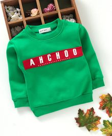 Kookie Kids Full Sleeves Sweatshirt Text Patch - Green