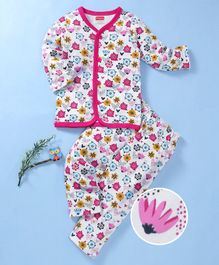 Babyhug Full Sleeves Cotton Night Suit Floral Print - Pink