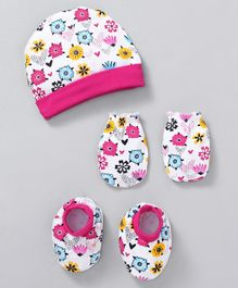 980f02162147 Babyhug Cotton Cap Mittens   Booties With Floral Print - Pink