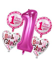 Shopperskart Happy First Birthday Foil Balloon Pink - Pack of 5