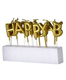 Shopperskart Happy Birthday Candles Golden - Pack of 13