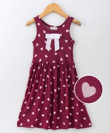Crayonflakes Heart Print Sleeveless Dress - Dark Pink