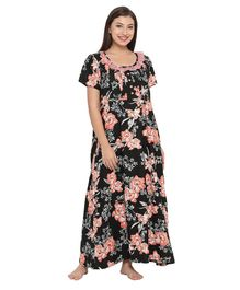 0d27687f6 Clovia Big Flowers Printed Half Sleeves Maternity Nighty - Black
