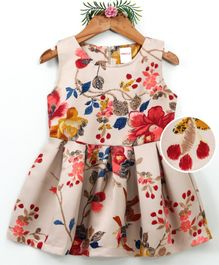 Curlous Flower & Bird Print Sleeveless Dress - Beige