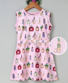 Curlous Perfume Bottles Printed Sleeveless Dress - Pink