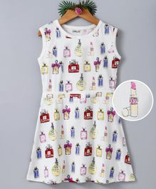 Curlous Perfume Bottles Printed Sleeveless Dress - White