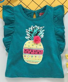 Babyhug Short Frilled Sleeves Tee Pineapple Print - Green