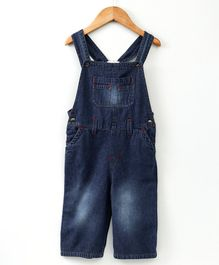 Eimoie Solid Front Buttoned Sleeveless Dungaree - Dark Blue